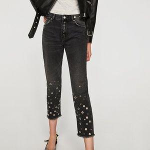 Zara Hardware Cropped Biker Chic Moto Jeans